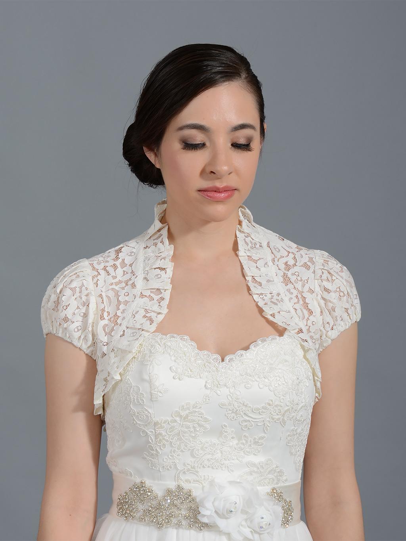 Ivory Short Sleeve Lace Bolero Lace 055