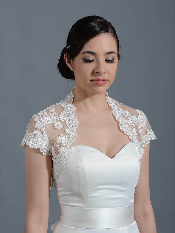 ivory cap sleeve bridal alencon lace bolero jacket lace 065. Black Bedroom Furniture Sets. Home Design Ideas
