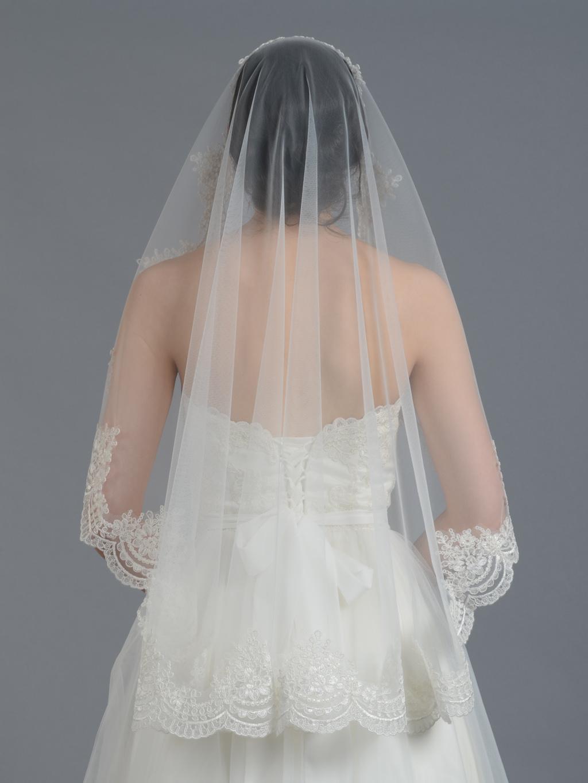 Mantilla Bridal Wedding Veil Elbow Fingertip V030