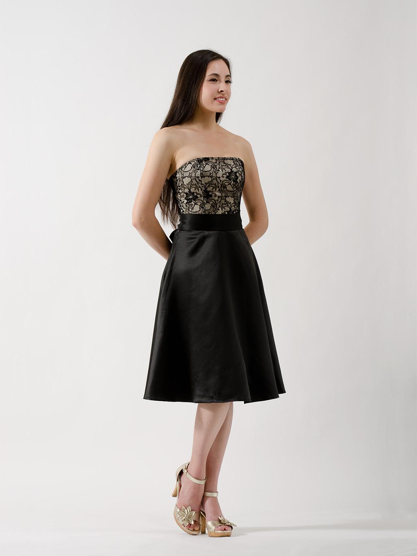 ... WEDDING DRESSES > Black lace strapless bridesmaid dress - BM_Dress_001