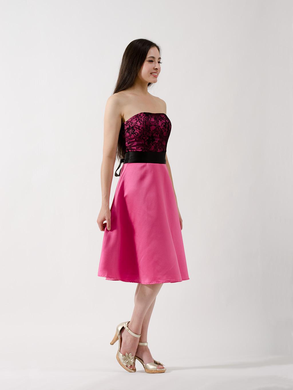Fuschia Lace Strapless Bridesmaid Dress BM Dress 001