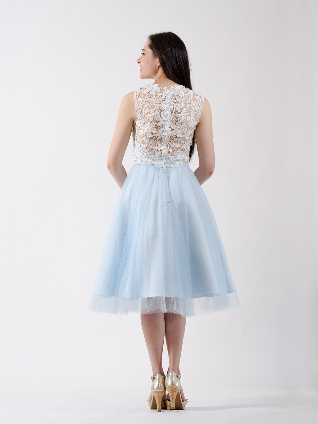 Lace bridesmaid dress ice blue for Ice blue wedding dress