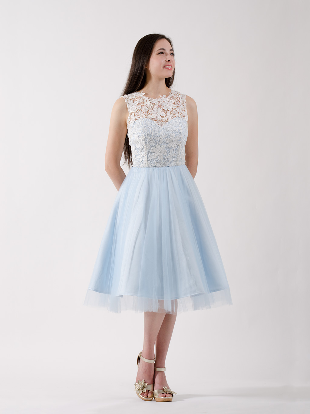 Lace Bridesmaid Dress Ice Blue