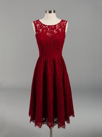 Lace bridesmaid dress wine red BM007-Winered