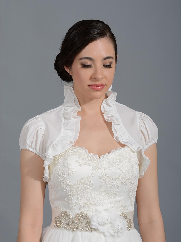 ivory short sleeve bridal chiffon wedding bolero jacket. Black Bedroom Furniture Sets. Home Design Ideas