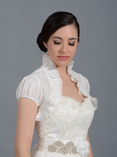 Ivory short sleeve bridal chiffon wedding bolero jacket