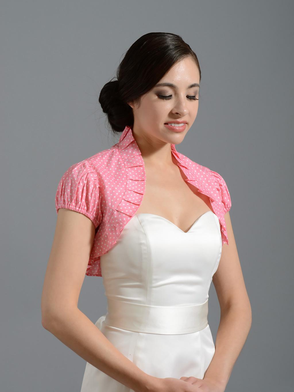 Pink Cotton Wedding Bolero Jacket Polka Dot Cotton 002 Pink