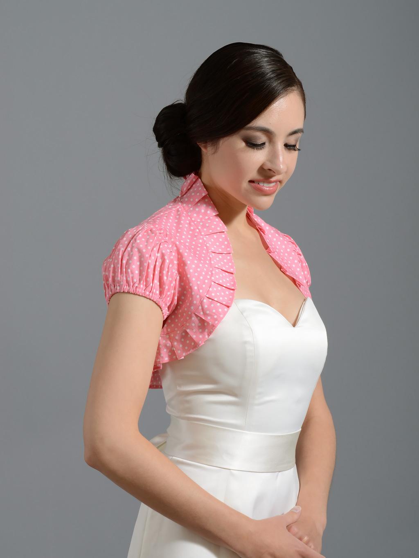 White Fur Stole >> Pink cotton wedding bolero jacket polka dot Cotton_002_pink