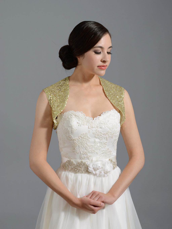 Sequin Silver Wedding Bolero Jacket Sequin 001 Gold