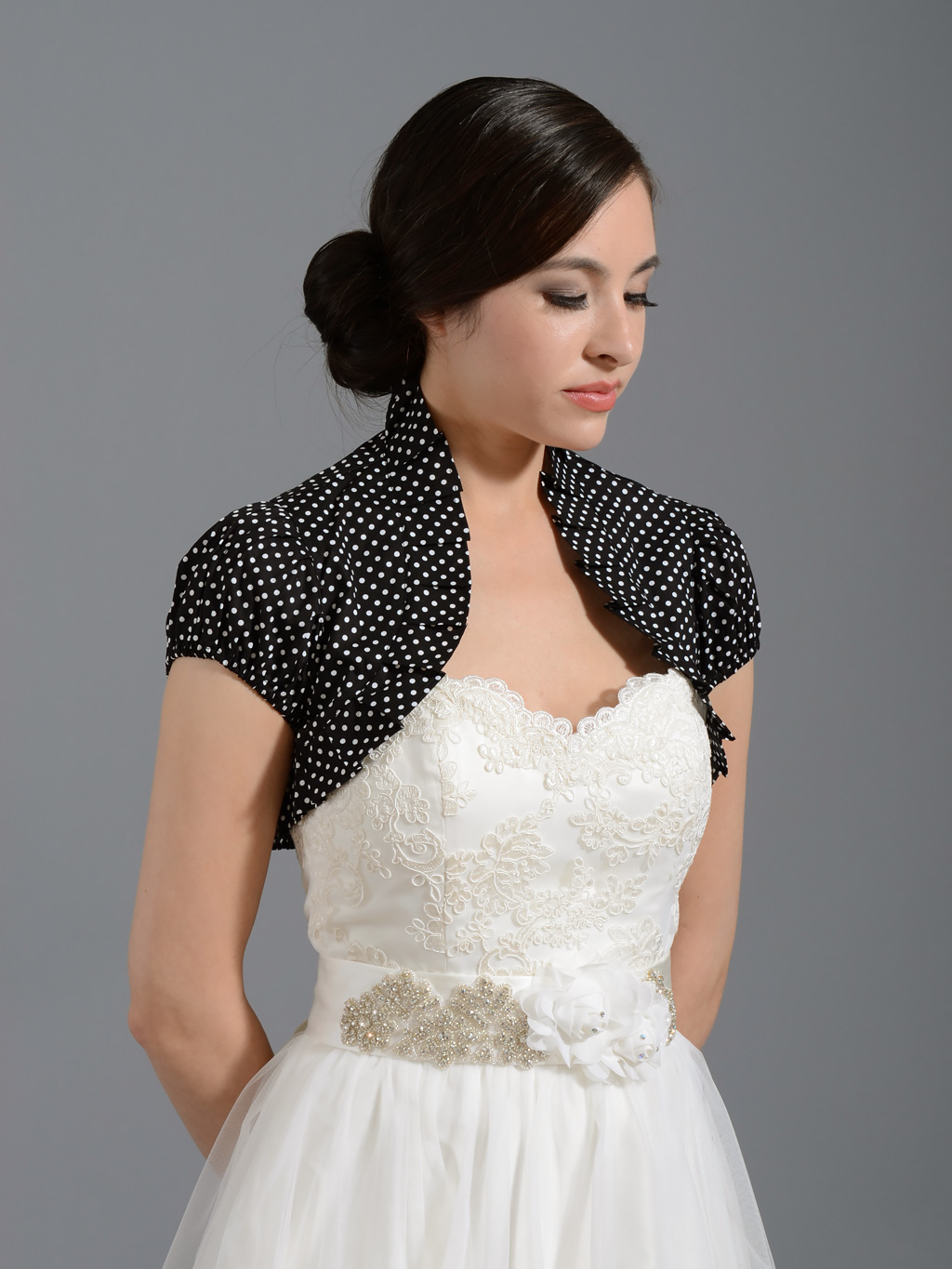 Black cotton wedding bolero jacket polka dot Cotton_002_black