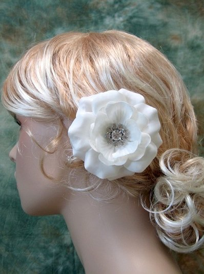 Birdcage veil fascinator wedding hair flower clip white and ivory