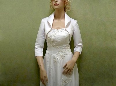 White 3/4 sleeve satin bolero wedding jacket