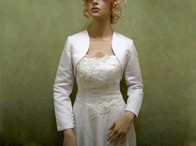 White long sleeve satin bolero wedding jacket