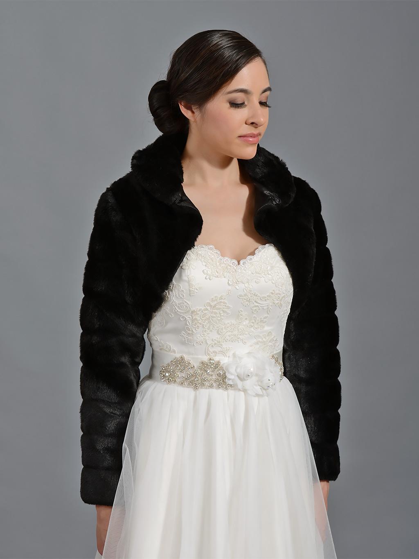 black long sleeve faux fur bolero jacket fb001 black. Black Bedroom Furniture Sets. Home Design Ideas