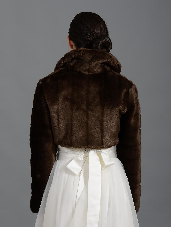 Brown long sleeve faux fur bolero jacket FB001_Brown