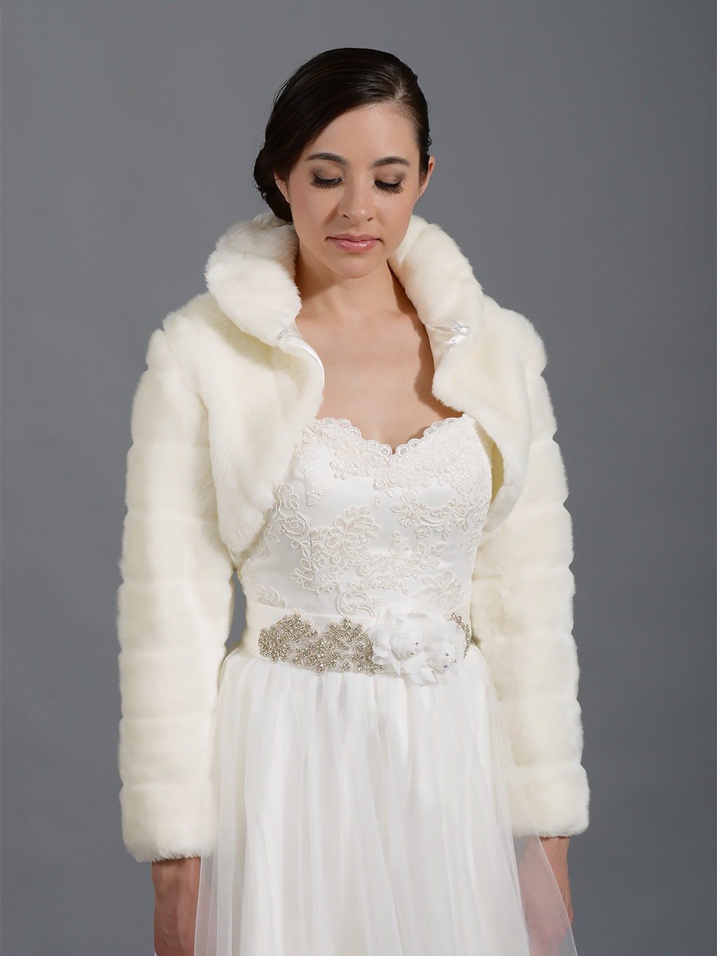 Ivory faux fur long sleeve jacket shrug bolero fb001 ivory for Wedding dress with shrug