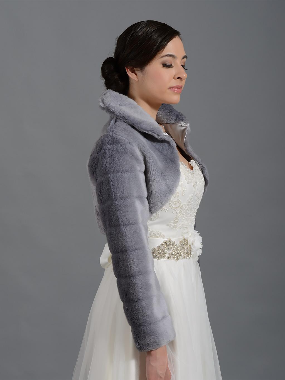 Silver Long Sleeve Faux Fur Bolero Jacket Fb001 Silver