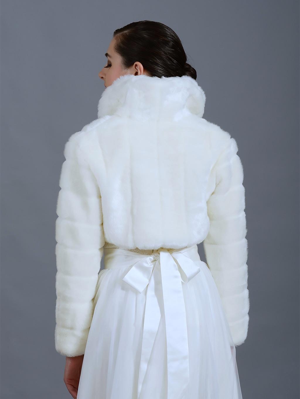 Off White faux fur bolero long sleeve jacket