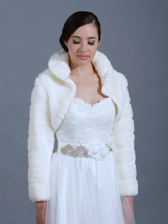 Off white faux fur bolero long sleeve jacket for White bolero for wedding dress