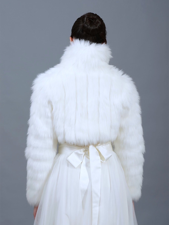White Faux Fur Jacket Shrug Bolero Wrap Fb002 White