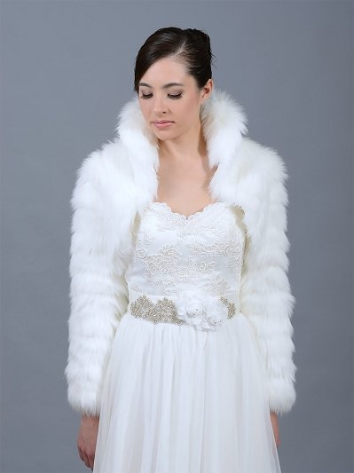 White faux fur jacket shrug bolero Wrap FB002_White