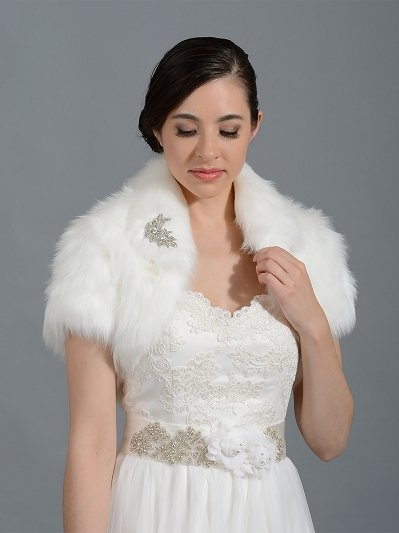 Ivory faux fur jacket shrug bolero Wrap FB003_Ivory