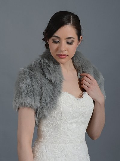 Silver faux fur jacket shrug bolero Wrap FB003-silver