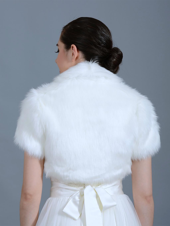 White Faux Fur Jacket Shrug Bolero Wrap Fb003 White
