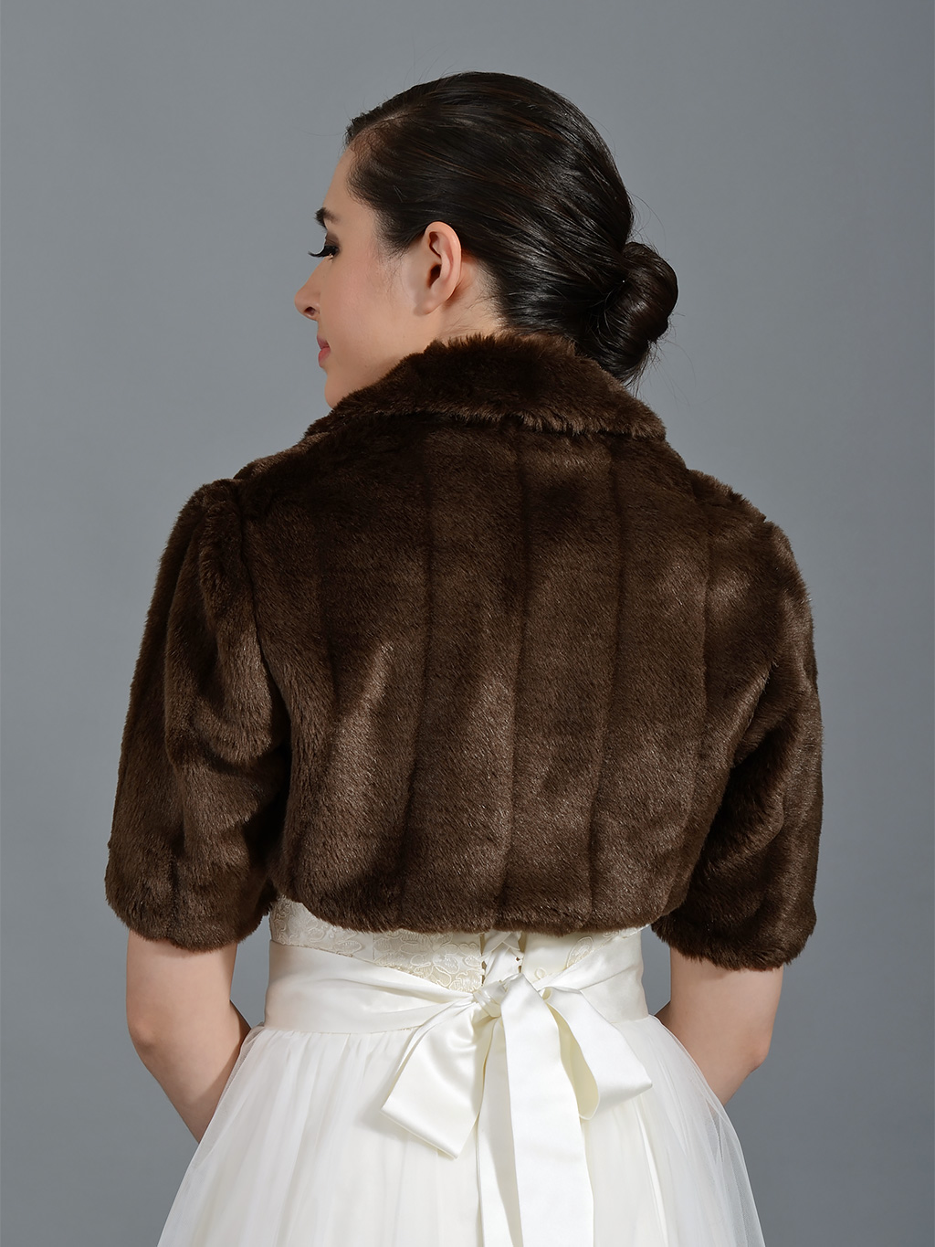 Brown Elbow Length Sleeve Faux Fur Jacket Shrug Bolero