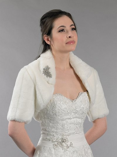 Ivory elbow length sleeve faux fur jacket shrug bolero FB004_Ivory