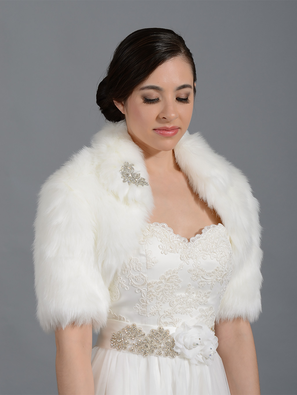 ... Bolero / Shrug > Elbow length sleeve faux fur bolero jacket shrug Wrap