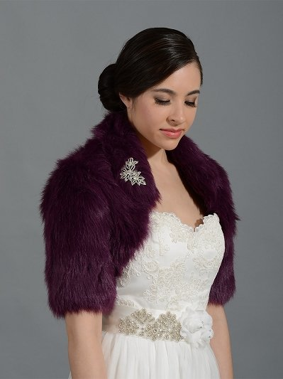 Purple elbow length sleeve faux fur bolero jacket shrug Wrap