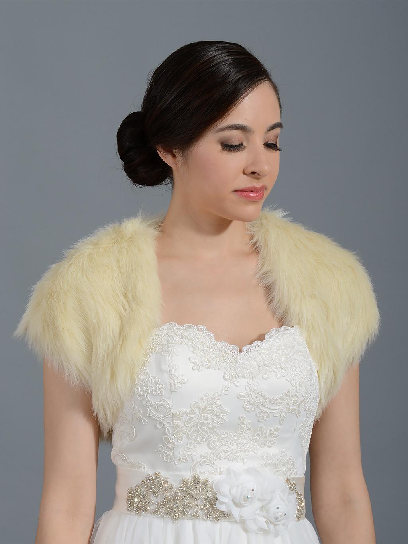 Champagne faux fur shrug bolero wrap FS004_Champagne