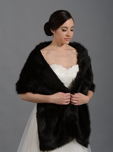 Black faux fur bridal wrap shrug stole A002_Black