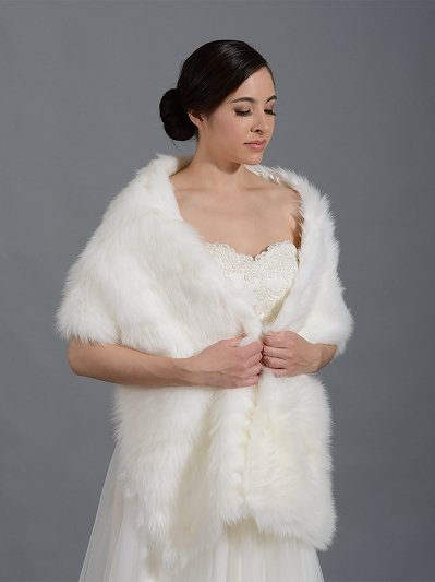 Faux fur stole bridal wrap shrug A002