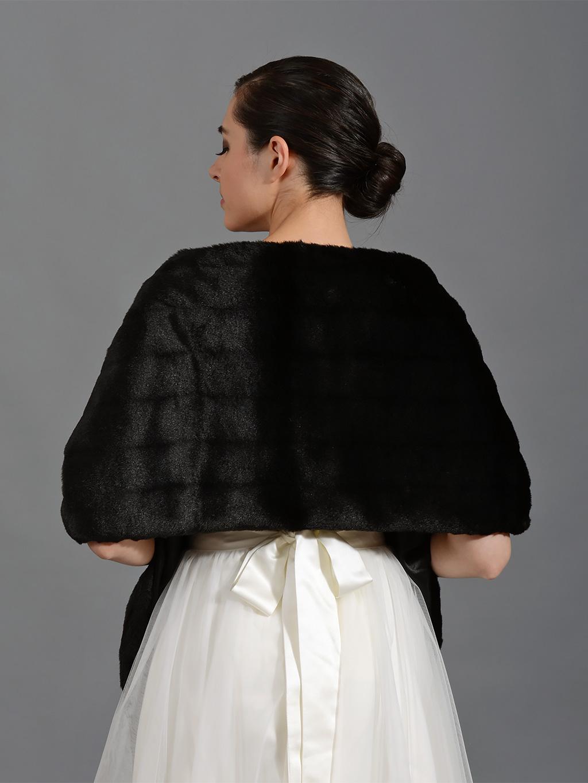 Black Faux Fur Bridal Wrap Shrug Stole Shawl Fw004 Black