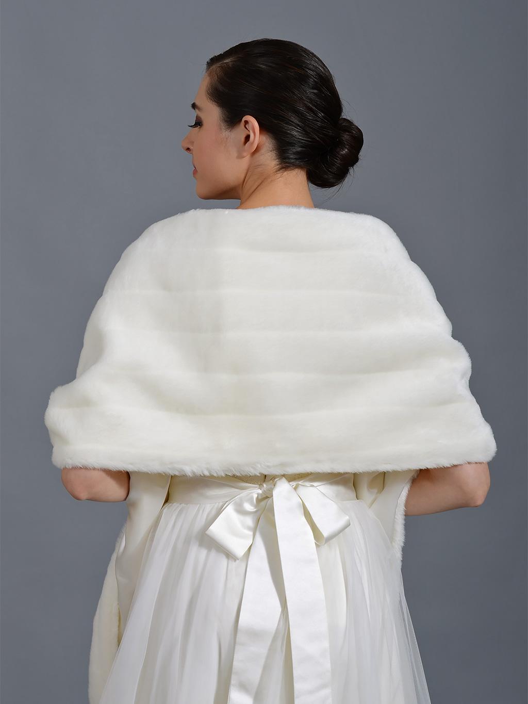 Faux Fur Stole Bridal Wrap Shrug Shawl Ivory And White