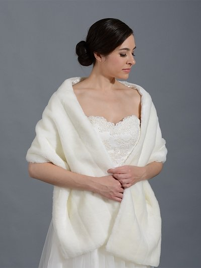 Faux fur stole bridal wrap shrug shawl - ivory and white