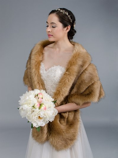 Brown faux fur wrap bridal stole B001-Brown