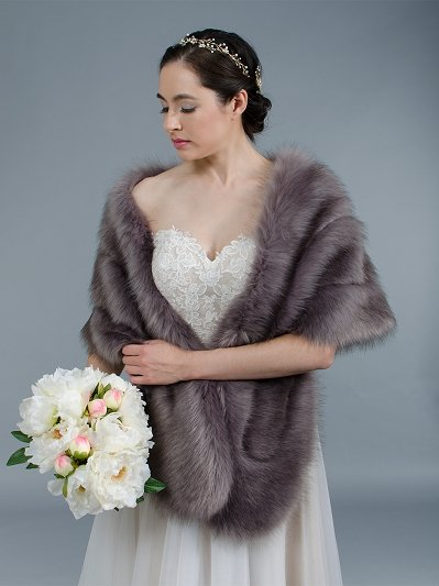 Dark Gray faux fur wrap bridal stole B001-DarkGray