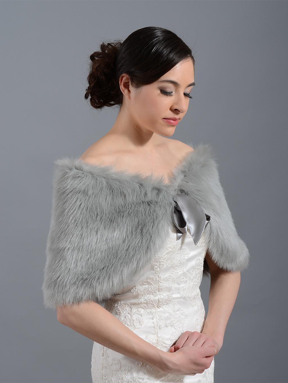 Silver faux fur wrap bridal shrug stole shawl cape c002 - Stoel fur ...