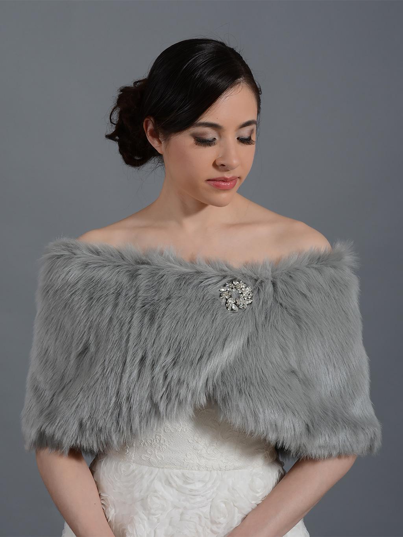 Silver Faux Fur Wrap Bridal Shrug Fw011 Silver