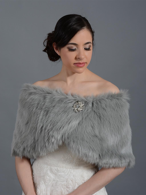 Silver faux fur wrap bridal shrug fw011 silver for Fur shrug for wedding dress