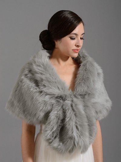 Silver wedding bridal faux fur wrap shrug stole shawl A001_Silver