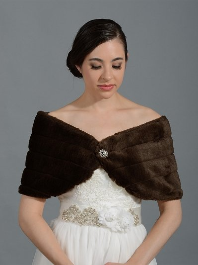 Brown faux fur wrap bridal shrug stole shawl