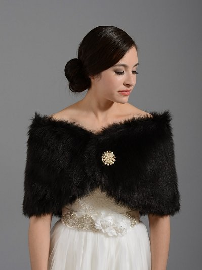 Black faux fur wrap bridal shrug stole shawl FW005_Black
