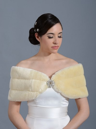 Faux fur wrap shawl shrug stole FW007