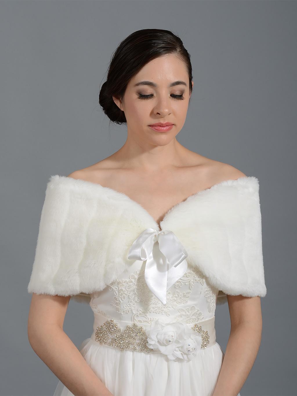 Ivory faux fur shawl bridal wrap fw008 ivory for Fur shrug for wedding dress