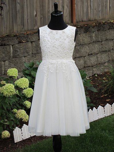Beaded ivory flower girl dress 002