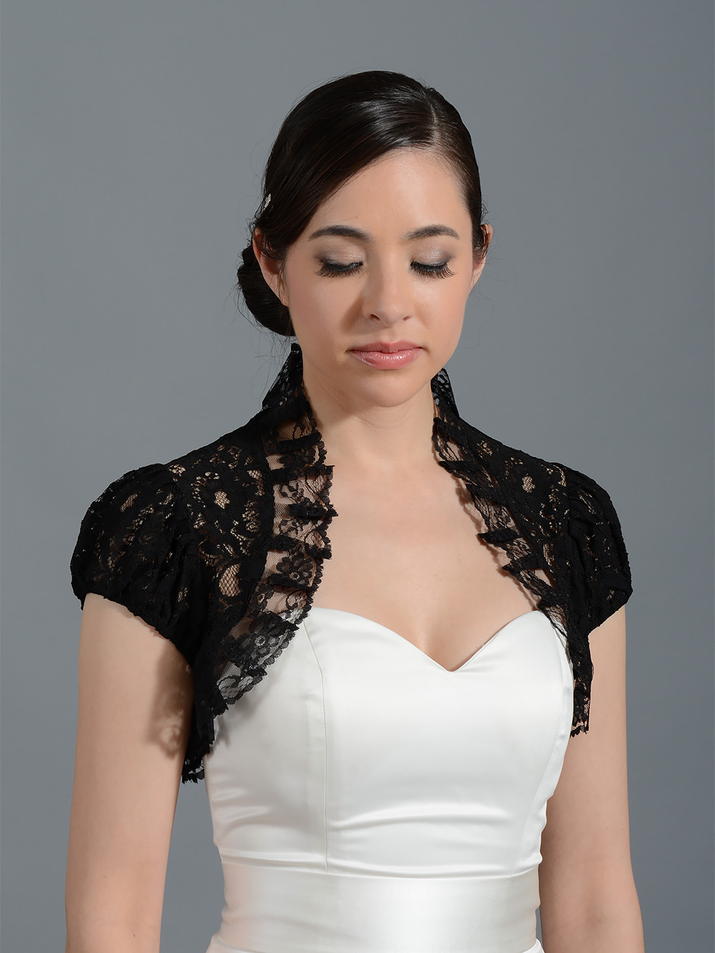 Black short sleeve corded lace wedding bolero jacket